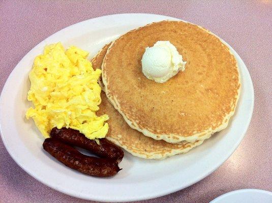 pancake, scrambled eggs, sausage